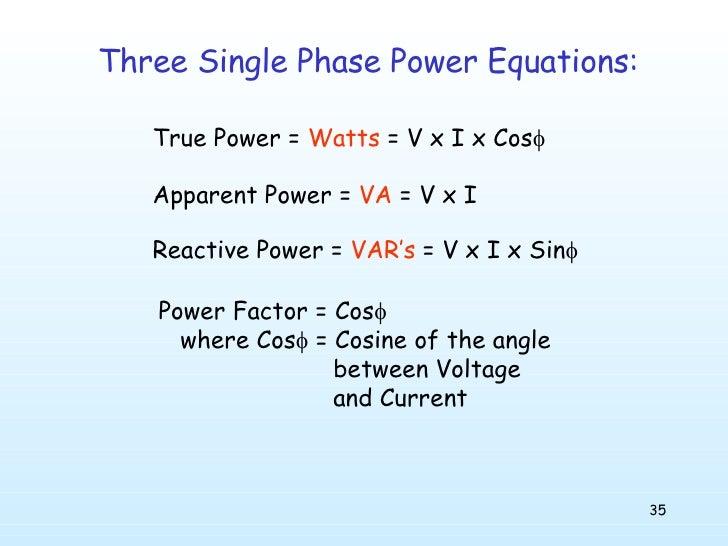 three phase power equations