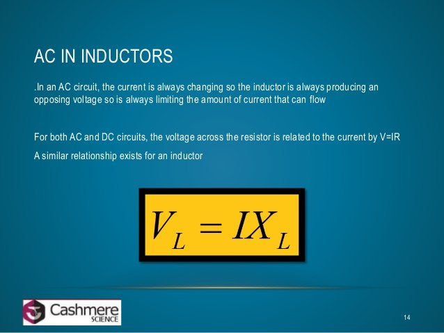 AC IN INDUCTORS  .In an AC circuit, the current is always changing so the inductor is always producing an  opposing voltag...