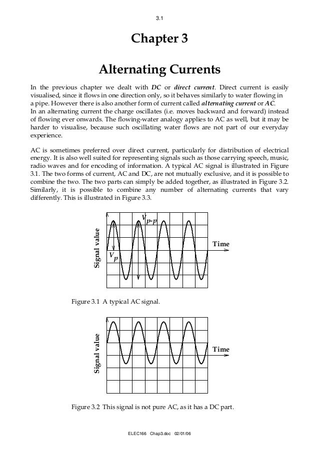 3.1  Chapter 3 Alternating Currents In the previous chapter we dealt with DC or direct current. Direct current is easily v...