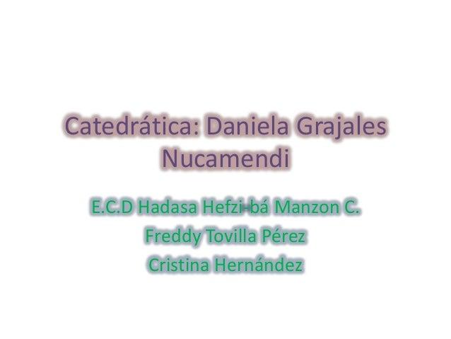 Catedrática: Daniela Grajales Nucamendi E.C.D Hadasa Hefzi-bá Manzon C. Freddy Tovilla Pérez Cristina Hernández