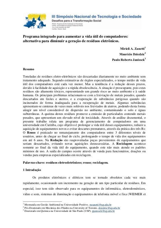 Programa integrado para aumentar a vida útil de computadores: alternativa para diminuir a geração de resíduos eletrônicos....