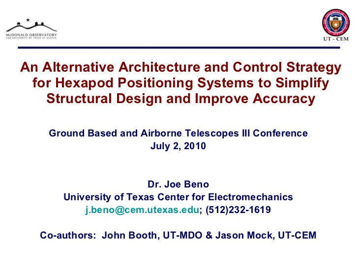 An Alternative Architecture and Control Strategy for Hexapod Positioning Systems to Simplify Structural Design and Improve...