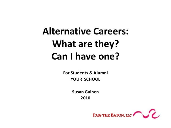 Alternative Careers:What are they?Can I have one?<br />For Students & Alumni<br />YOUR  SCHOOL<br />Susan Gainen<br />2010...