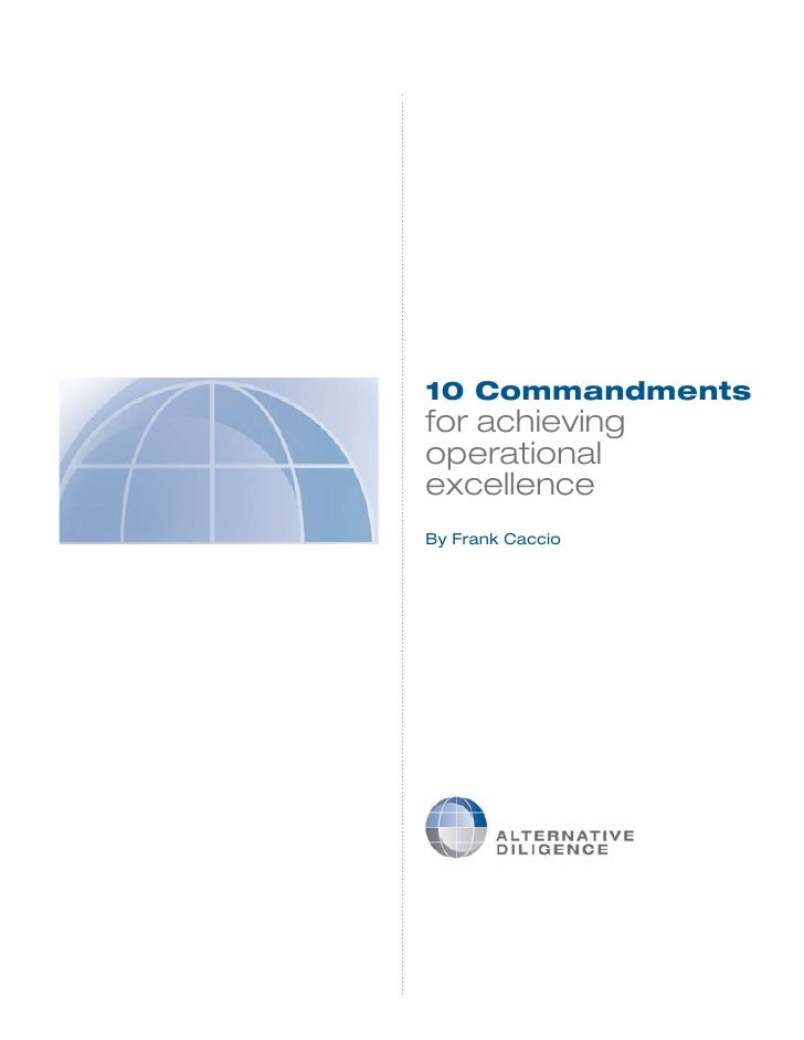 10 Commandments for achieving operational excellence By Frank Caccio