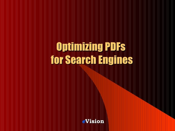 Optimizing PDFs  for Search Engines e Vision