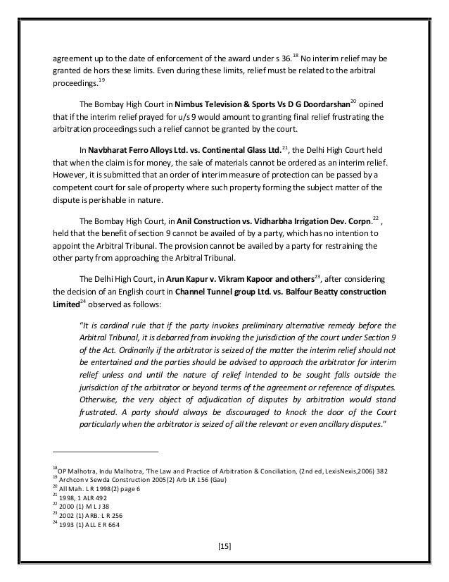 Alternative dispute resolution: Interim Measures
