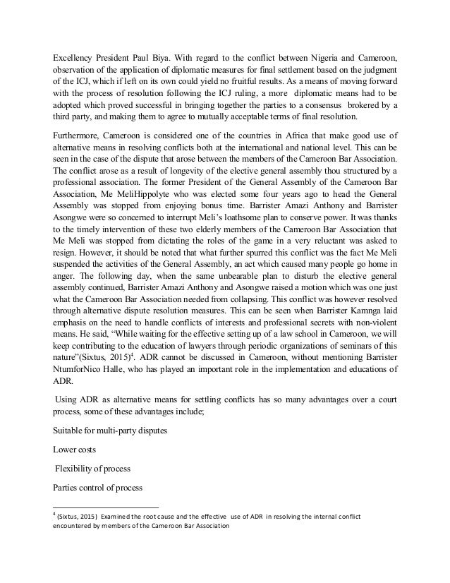 Alternative Dispute Resolution (ADR) as a Mechanism of Peace in Africa