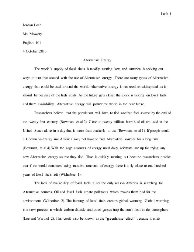 Research essay renewable energy