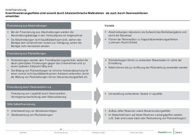 Innenfinanzierung Innenfinanzierungseffekte sind sowohl durch bilanztechnische Maßnahmen als auch durch Desinvestitionen u...