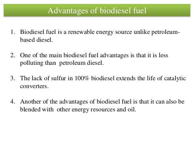 what is one advantage of each alternative fuel