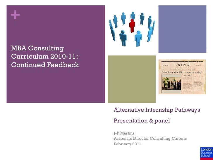 +MBA ConsultingCurriculum 2010-11:Continued Feedback                      Alternative Internship Pathways                 ...
