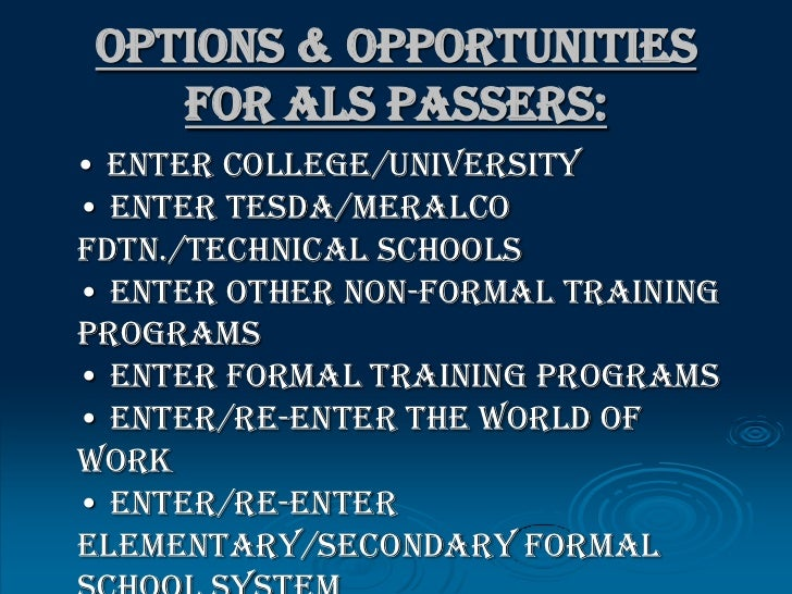 ... 13. Options & Opportunities for ALS ...