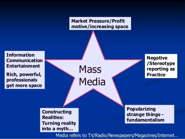 mass media in the context of Mass communications is the transmission of information to large numbers of people through the mass media mass media includes.