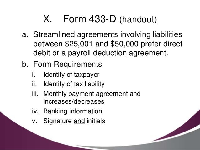 Where To Mail Irs Installment Agreement Form 433 D The Best