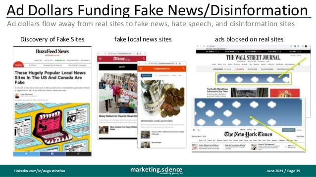 June 2021 / Page 39 marketing.science consulting group, inc. linkedin.com/in/augustinefou Ad Dollars Funding Fake News/Dis...