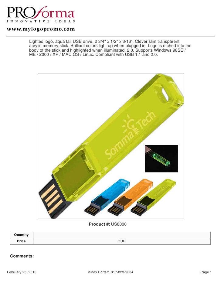 "Lighted logo, aqua tail USB drive, 2 3/4"" x 1/2"" x 3/16"". Clever slim transparent                acrylic memory stick. Bri..."