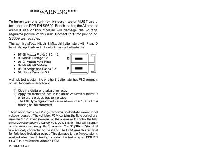 Alternator P D Ecm Controller Alternator Test P0064