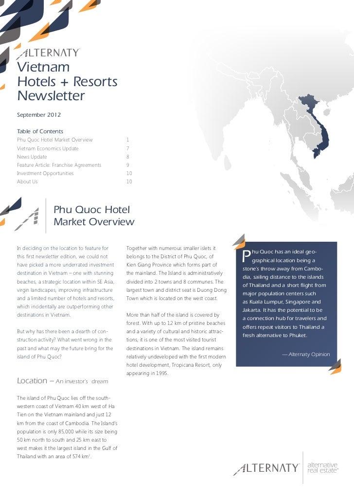 VietnamHotels + ResortsNewsletterSeptember 2012Table of ContentsPhu Quoc Hotel Market Overview                    1Vietnam...