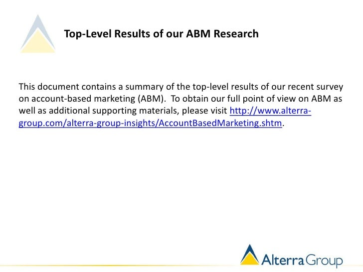 Top-Level Results of our ABM ResearchThis document contains a summary of the top-level results of our recent surveyon acco...