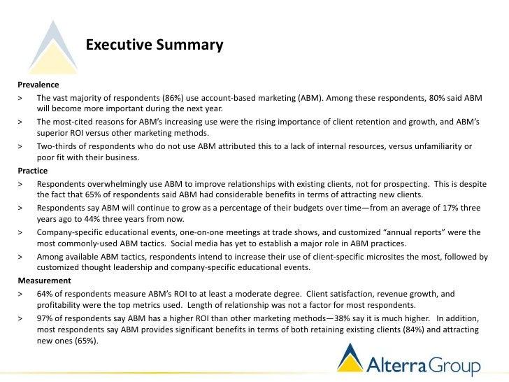 Executive SummaryPrevalence>    The vast majority of respondents (86%) use account-based marketing (ABM). Among these resp...