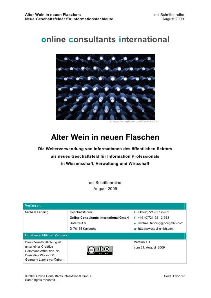 Alter Wein in neuen Flaschen:                                                        oci Schriftenreihe Neue Geschäftsfeld...