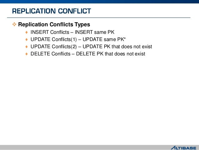  Replication Conflicts Types ♦ INSERT Conflicts – INSERT same PK ♦ UPDATE Conflicts(1) – UPDATE same PK* ♦ UPDATE Conflic...