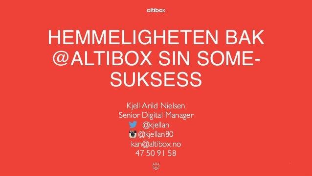 HEMMELIGHETEN BAK @ALTIBOX SIN SOME- SUKSESS Kjell Arild Nielsen Senior Digital Manager @kjellan @kjellan80 kan@altibox.no...