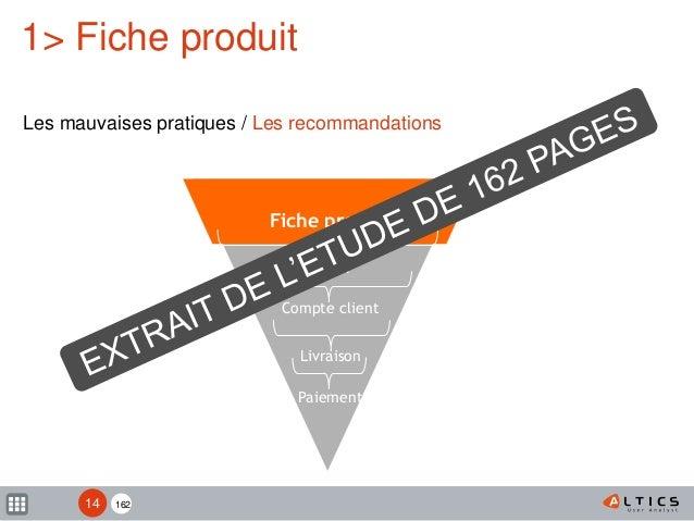 162 Fiche produit Panier Compte client Livraison Paiement 1> Fiche produit Les mauvaises pratiques / Les recommandations 14