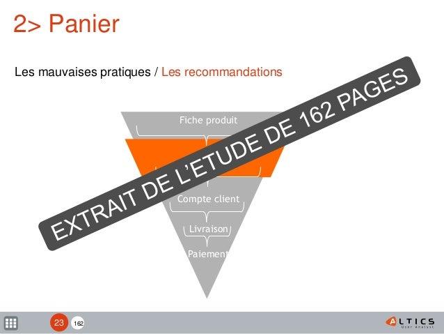 162 Fiche produit Panier Compte client Livraison Paiement 2> Panier Les mauvaises pratiques / Les recommandations 23