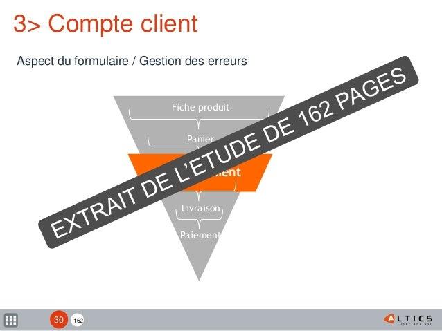 162 Fiche produit Panier Compte client Livraison Paiement 3> Compte client Aspect du formulaire / Gestion des erreurs 30