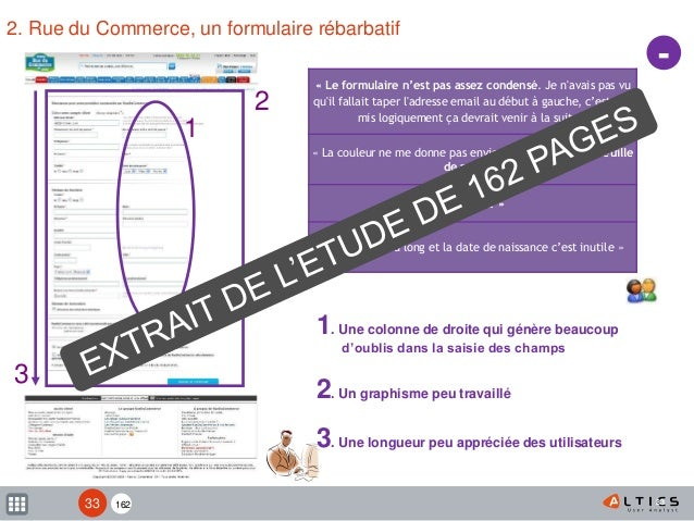 162 33 2. Rue du Commerce, un formulaire rébarbatif 33 « Le formulaire n'est pas assez condensé. Je n'avais pas vu qu'il f...