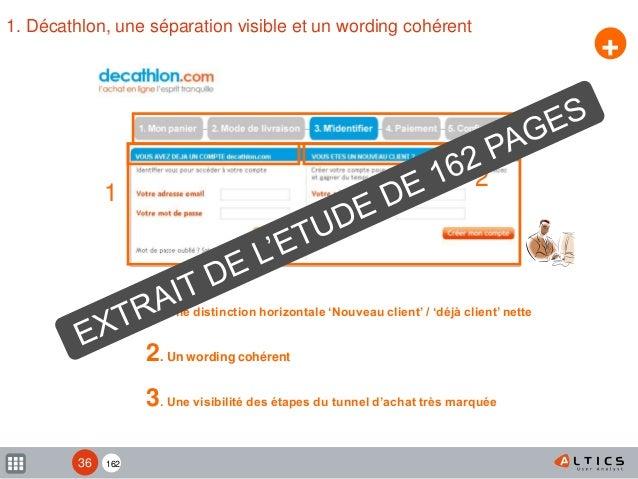 162 1. Décathlon, une séparation visible et un wording cohérent + 1. Une distinction horizontale 'Nouveau client' / 'déjà ...