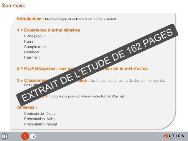 162 Introduction : Méthodologie et entonnoir du tunnel d'achat 1 > Expérience d'achat détaillée Fiche produit Panier Compt...