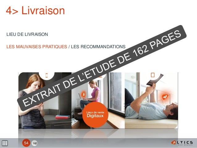 162 4> Livraison LIEU DE LIVRAISON LES MAUVAISES PRATIQUES / LES RECOMMANDATIONS 54