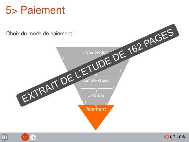 162 Fiche produit Panier Compte client Livraison Paiement 5> Paiement Choix du mode de paiement ! 57