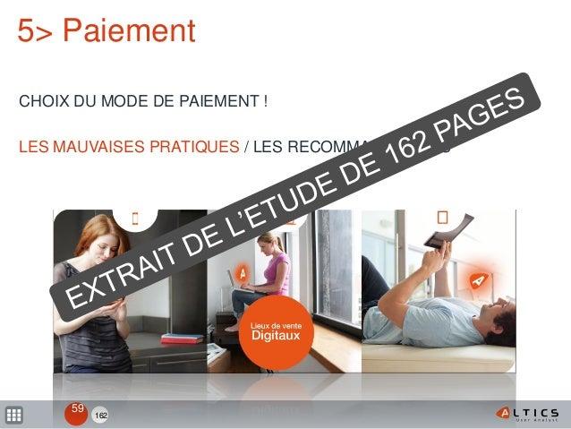 162 5> Paiement CHOIX DU MODE DE PAIEMENT ! LES MAUVAISES PRATIQUES / LES RECOMMANDATIONS 59