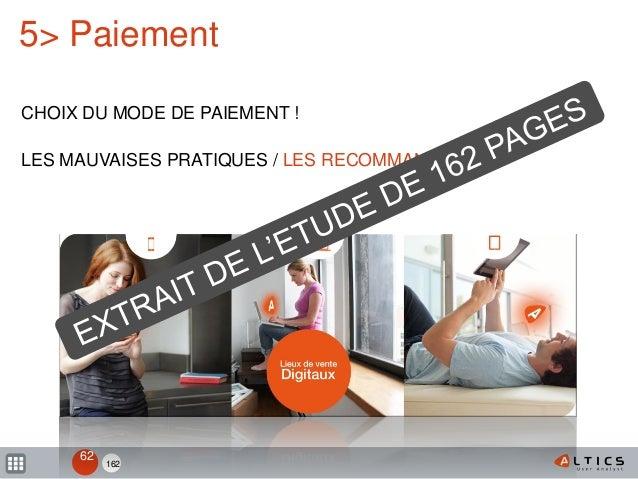 162 5> Paiement CHOIX DU MODE DE PAIEMENT ! LES MAUVAISES PRATIQUES / LES RECOMMANDATIONS 62