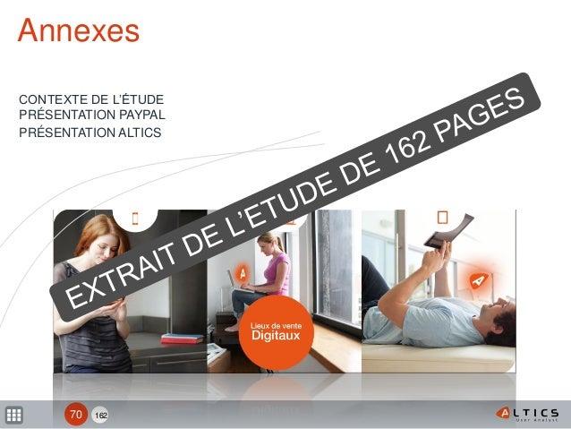 162 Annexes CONTEXTE DE L'ÉTUDE PRÉSENTATION PAYPAL PRÉSENTATION ALTICS 70