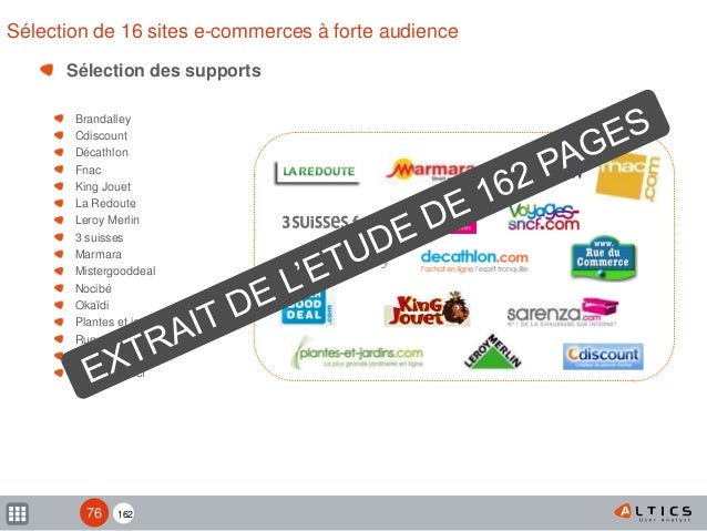 162 Sélection de 16 sites e-commerces à forte audience Sélection des supports Brandalley Cdiscount Décathlon Fnac King Jou...