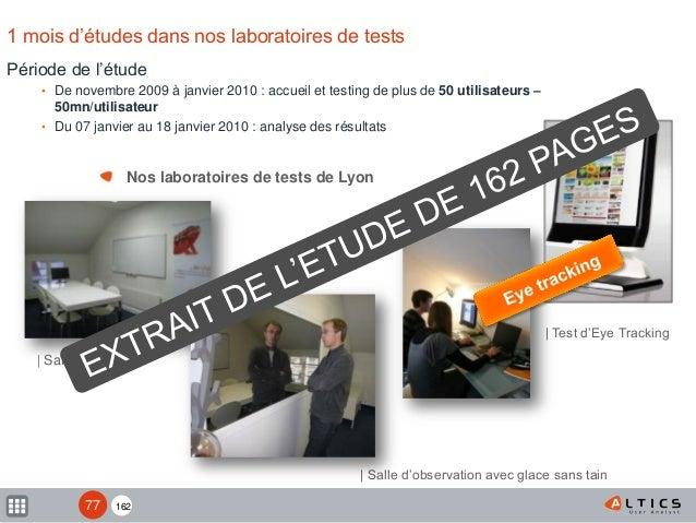 162 Période de l'étude • De novembre 2009 à janvier 2010 : accueil et testing de plus de 50 utilisateurs – 50mn/utilisateu...
