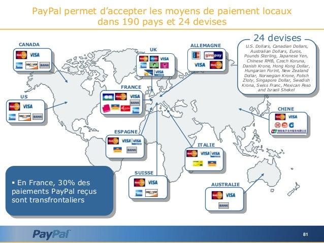 81 PayPal permet d'accepter les moyens de paiement locaux dans 190 pays et 24 devises FRANCE ALLEMAGNE ESPAGNE ITALIE UK U...