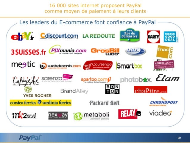 82 16 000 sites internet proposent PayPal comme moyen de paiement à leurs clients Les leaders du E-commerce font confiance...