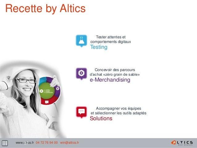 162 Recette by Altics Tester attentes et comportements digitaux Testing Concevoir des parcours d'achat «zéro grain de sabl...