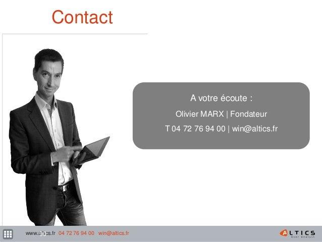 162 Contact A votre écoute : Olivier MARX   Fondateur T 04 72 76 94 00   win@altics.fr www.altics.fr 04 72 76 94 00 win@al...