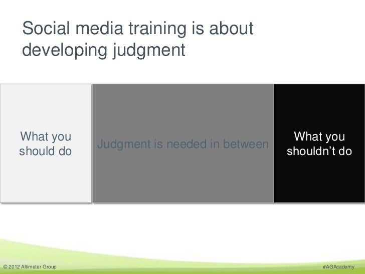 Social media training is about       developing judgment      What you                                            What you...