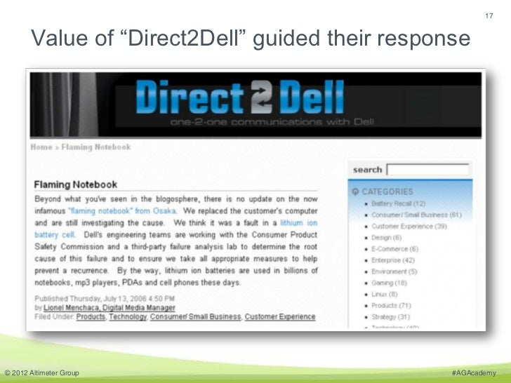 "17       Value of ""Direct2Dell"" guided their response© 2012 Altimeter Group                           #AGAcademy"