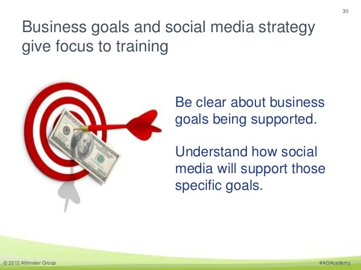 30       Business goals and social media strategy       give focus to training                           Be clear about bu...