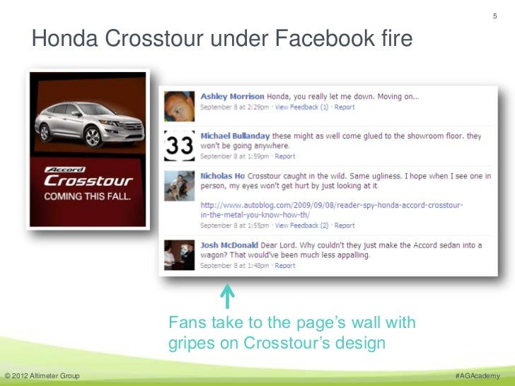 5       Honda Crosstour under Facebook fire                         Fans take to the page's wall with                     ...