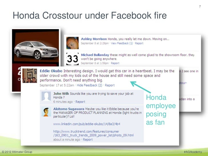 7       Honda Crosstour under Facebook fire                                     Honda                                     ...