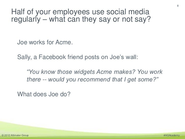 8       Half of your employees use social media       regularly – what can they say or not say?            Joe works for A...